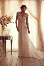 Free Shipping Wedding Dresses V Neck Beaded Cap Sleevel Chiffon Long Bridal Gown