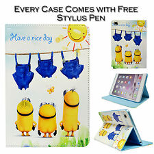 Despicable Me Naked Minions Leather Stand Wallet Case For Apple iPad Mini 1 2 3