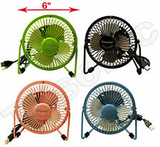 "6"" Metal Super Mute Portable Mini USB Cooling Desk Fan Cooler PC Laptop Computer"