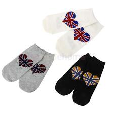 Pair Winter Warm Mens Womens 100% Cotton Ankle Socks Union Flag Sport Stockings