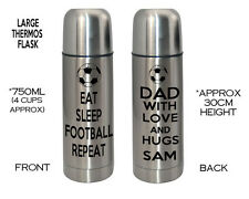 Personalised Thermos Flask Stainless Steel EAT SLEEP ANY Football Dad Mum Gift
