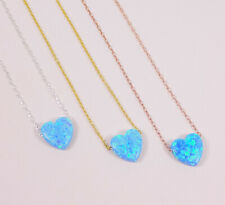 Opal Heart Necklace. Opal Heart Pendant 925 Sterling Silver Necklace