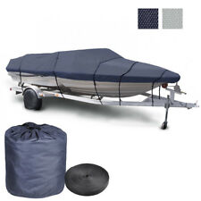 20-22 600D Trailerable Fish Ski Boat Cover UV Waterproof V-Hull Blue/Grey Opt