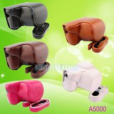 Leather Camera Case Cover Bag with Strap For Sony NEX-3N a5000 a5100 ILCE-5100