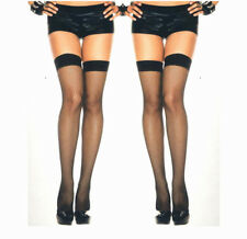 Music Legs 4900 Two Pairs Thigh Highs Fishnet Stockings One Size: Regular Black