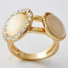Perfect Womens Gold Plated Clear CZ, Opal Band Ring Size 5-9.5 Free Shipping