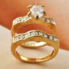 Posh Yellow GF Womens Gift Clear CZ Band Ring Set Size 5 6 7 8 9 Free Shipping