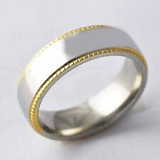 9K Yellow Gold Filled,stainless steel band Promise Love Band Ring Size 7-11