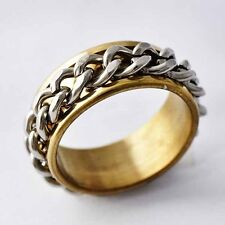 Real Gold Filled,stainless steel ROPE LINK Promise Love Band Ring Size 7-11