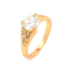 Fashion 18K Yellow Gold Plated Big Clear Round CZ Promise Love Band Ring