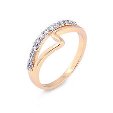 Stylish 18K Yellow Gold Plated Clear Round Cubic Zirconia Promise Love Band Ring