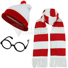Mens Ladies Red White Hat Glasses Scarf Book Day Comic Relief Fancy Dress Party