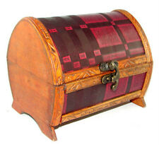Charming Wooden Trinket Box jewelry coins treasure chest gift handcrafted