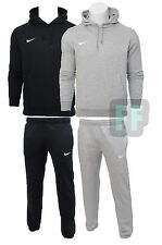 Nike Mens Full Fleece Hoodie White Tick Tracksuit Joggers Bottoms Jacket
