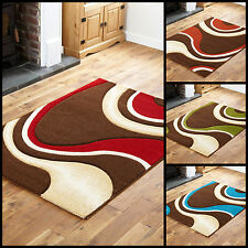 SMALL - LARGE HIGH QUALITY SOFT 10-12MM THICK BROWN BLUE GREEN RED CARVED RUG