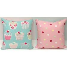 SHABBY CHIC DUCK EGG BLUE WITH CUPCAKES/PINK MULTI SPOTS   FILLED CUSHION/COVER