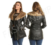 New Womens Leather Look Long Sleeve Belted Faux Fur Collar Zip Up Biker Jacket