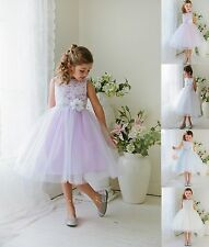 New Flower Girl Lace Tulle Dress Pageant Wedding Birthday Formal Easter 1245