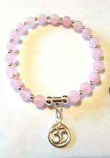 925 sterling silver gemstone bracelet rose quartz or amethyst with om charm
