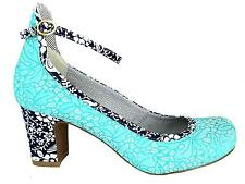 Ruby Shoo Sadie Women's Turquoise Medium Cuban Heel Ankle Strap Court Shoes New