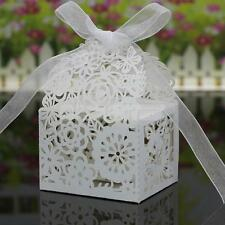 20 xHollow Out Flower Candy Chocolate Box Wedding Party Favor Gift Bag White