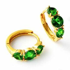 Fashion jewelry Womens Bright/green CZ Hoop Earrings Yellow Gold Plated