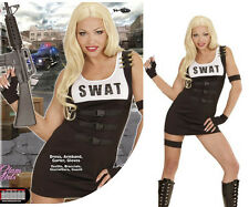 Womens Sexy SWAT Outfit Fancy Dress Military Black Special Agent FBI Costume