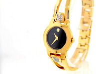 Ladies Movado 0604984 AMOROSA Diamond Gold Plated Stainless Black Dial Watch