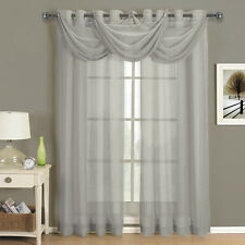 Abri Grey Grommet Crushed Sheer Curtain Panel 100% Polyester