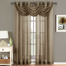 Abri Mocha Grommet Crushed Sheer Curtain Panel 100% Polyester