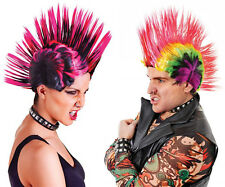 Mens Ladies Unisex Punk Wig Mohican Mohawk Fancy Dress 80s 90s Rock Metal Gang