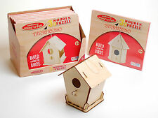 WOODEN 3D BIRD HOUSE SLOT TOGETHER PUZZLE TRADITIONAL WOOD FUN LEARNING