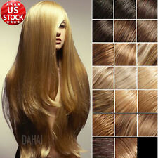 70g 80g Clip In 100% Remy Human Hair Extensions Full Head Black Brown Blonde A42