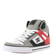 Mens Dc Spartan Hi Wc Grey White Red High-Top Skate Trainers Shoes Size