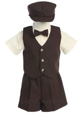 New Baby Toddler Brown Boys Suit Shorts Set Outfit Wedding Easter Party G815
