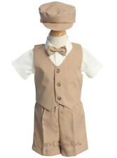 New Baby Toddler Khaki Boys Suit Shorts Set Outfit Wedding Easter Party G815