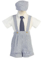 New Baby Toddler Blue Boys Striped Seersucker Suspender Shorts Set Outfit G822