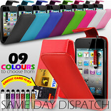 LEATHER FLIP CASE WITH CARD SLOT, FILM & MINI STYLUS PEN FOR APPLE IPOD TOUCH 4