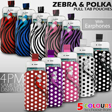 LEATHER POLKA & ZEBRA PULL TAB CASE POUCH+EARPHONE FOR VARIOUS ALCATEL PHONES