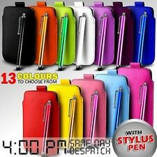 LEATHER PULL TAB SKIN CASE COVER POUCH & STYLUS FOR VARIOUS HP PHONES