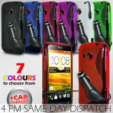 S LINE WAVE GEL SKIN CASE COVER & CAR CHARGER FOR HTC DESIRE C