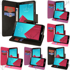 For LG G4 PU Leather Card Holder Wallet Flip Case TPU + FREE 2 Screen Protector
