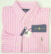 NWT $98 Polo Ralph Lauren LS KNIT Mesh Oxford Style Shirt Mens Pink S M NEW