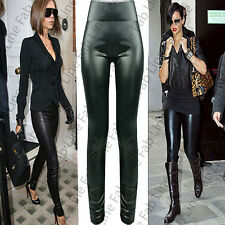 Womens Ladies Sexy Wet Look Shiny Full Ankle Length High Waisted Leggings Sizes