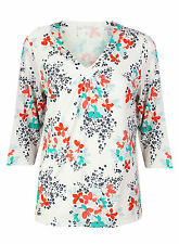 Ex BHS White Long Sleeve Floral Top V Neck Blouse Size 12-18
