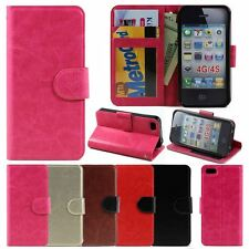 Slim Simple Leather Flip Wallet Case Cover For Apple iPhone 4S/4GS