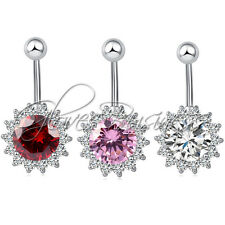 1pc 14G Rhinestone Sun Flower Navel Belly Button Ring Belly Body Jewelry