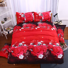 New Red Rose Romantic Duvet Cover Pillowcase Quilt Cover Bed Set Queen Size L