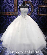 New Charming Ball Gown Wedding Dress Beaded White/Ivory Tulle Bridal Gown Custom