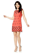 BNWT Gatsby Coral Dress Tunic Top Evening 1920's Shift Dress Size 8 TO Plus size
